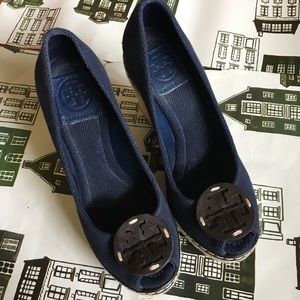 Tory Burch Navy Canvas Wedges